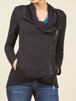 Casual  Cowl Neck Long Sleeve Outerwear
