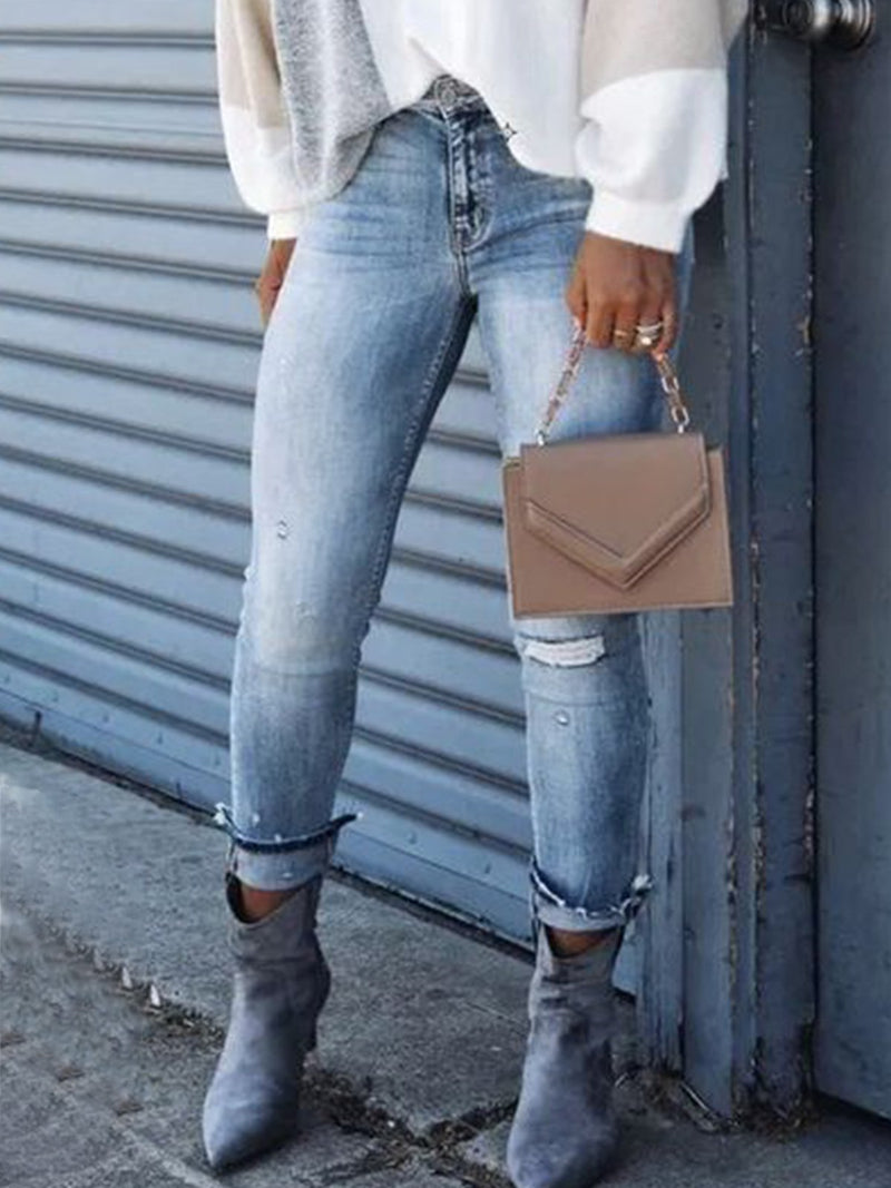 Casual tight denim trousers