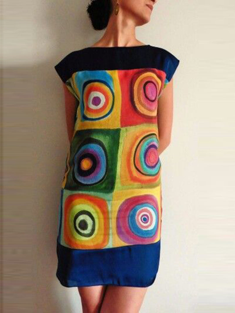 Women Navy Blue Casual Bateau/boat Neck Geometric Dresses