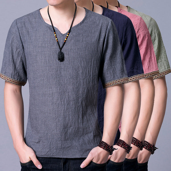 Chinese Style Linen Loose T-shirt Men's Short-sleeved Thin Retro Tops