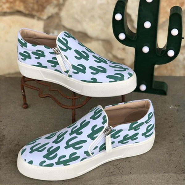 Green Artificial Suede Zipper Athletic Flat Heel Sneakers