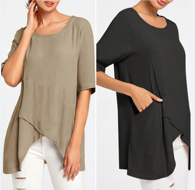 Plus Size Solid Casual Crew Neck Half Sleeve Asymmetric Tunic Blouses