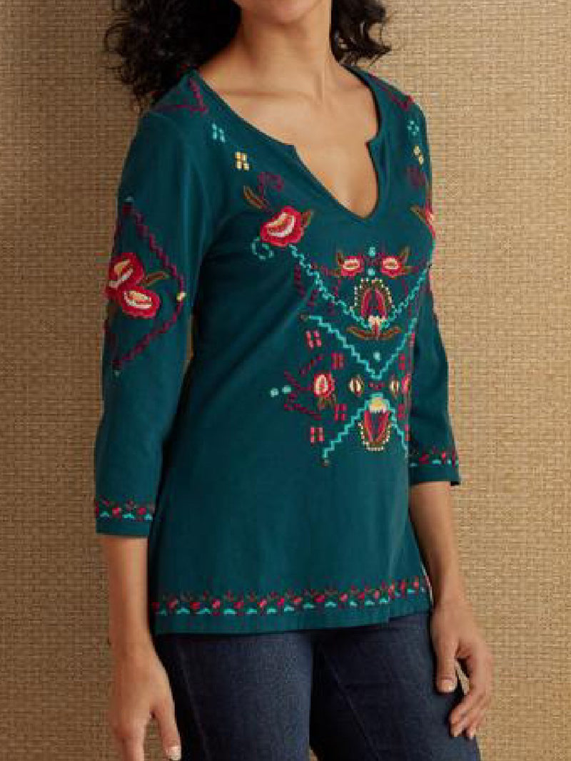 Casual Embroidery 3/4 Sleeve Shirts Tops