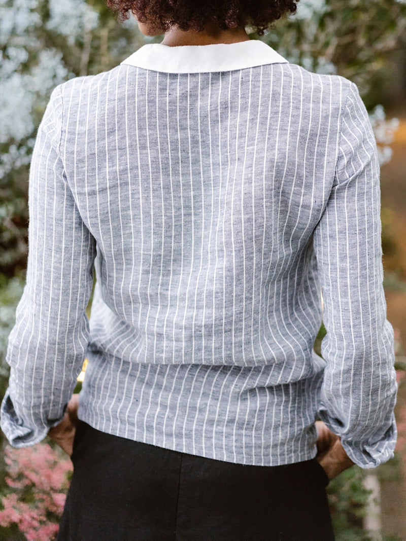 Striped Long Sleeve Contrast Collar Shirt