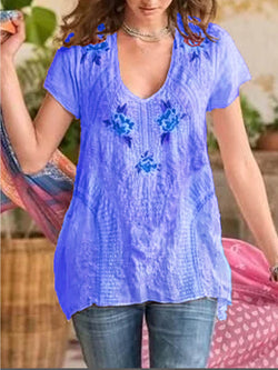 Boho Short Sleeve V Neck Shirts & Tops