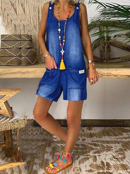 Blue Cotton Jeans Casual One-Pieces Denim Overalls