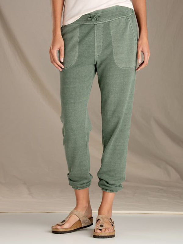Green Cotton Plain Casual Pants
