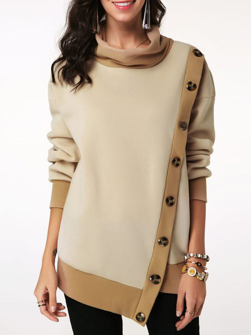 Khaki Patchwork Cowl Neck Long Sleeve Outerwear