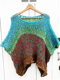 Women's  Casual Round Neck Half Sleeve Multicolor Paneled Sweater