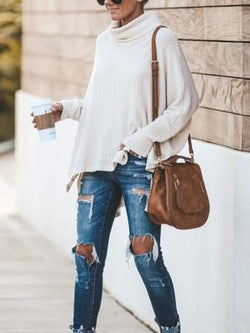 Apricot Casual Knitted Cowl Neck Shirts & Tops