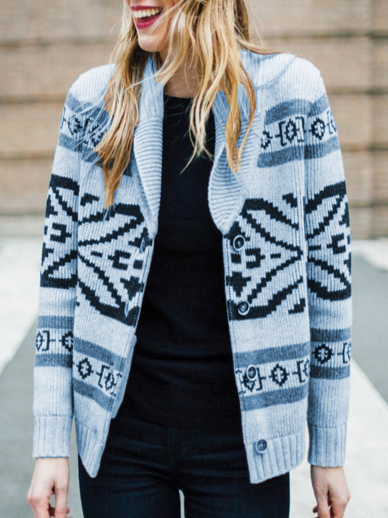 Gray Knitted Casual Outerwear