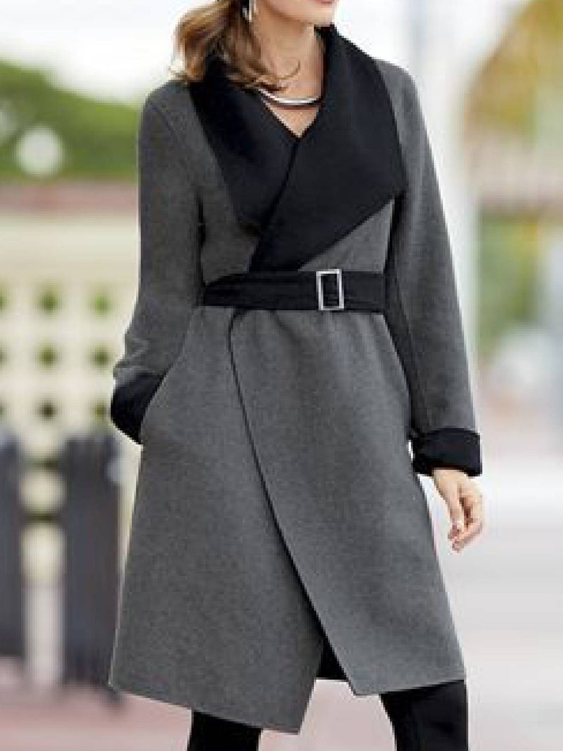Gray Long Sleeve Shawl Collar Outerwear