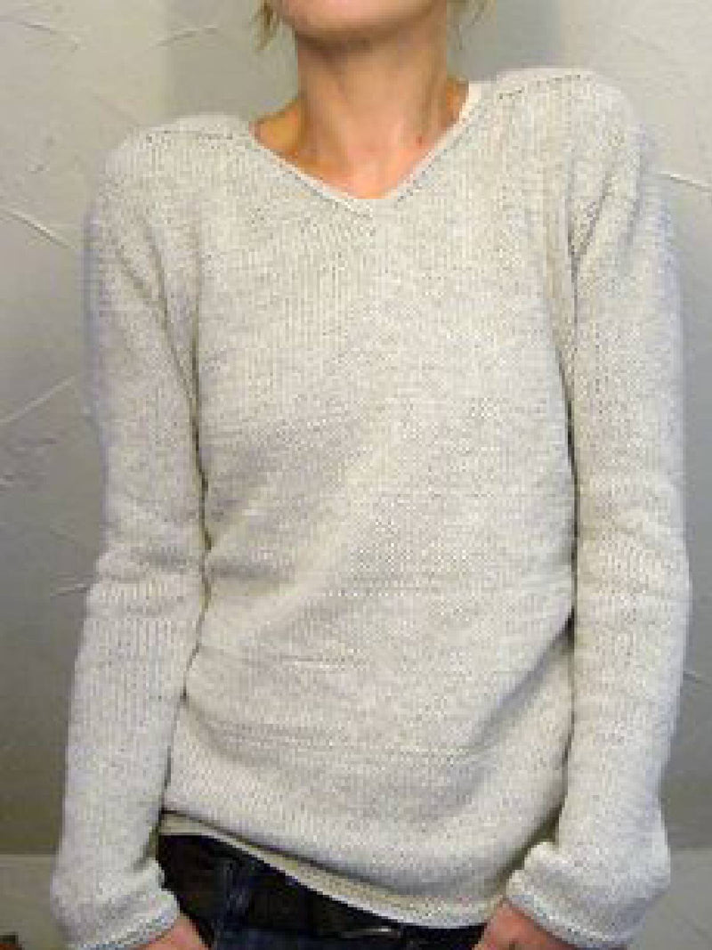 Apricot Cotton-Blend Solid V Neck Long Sleeve Sweater