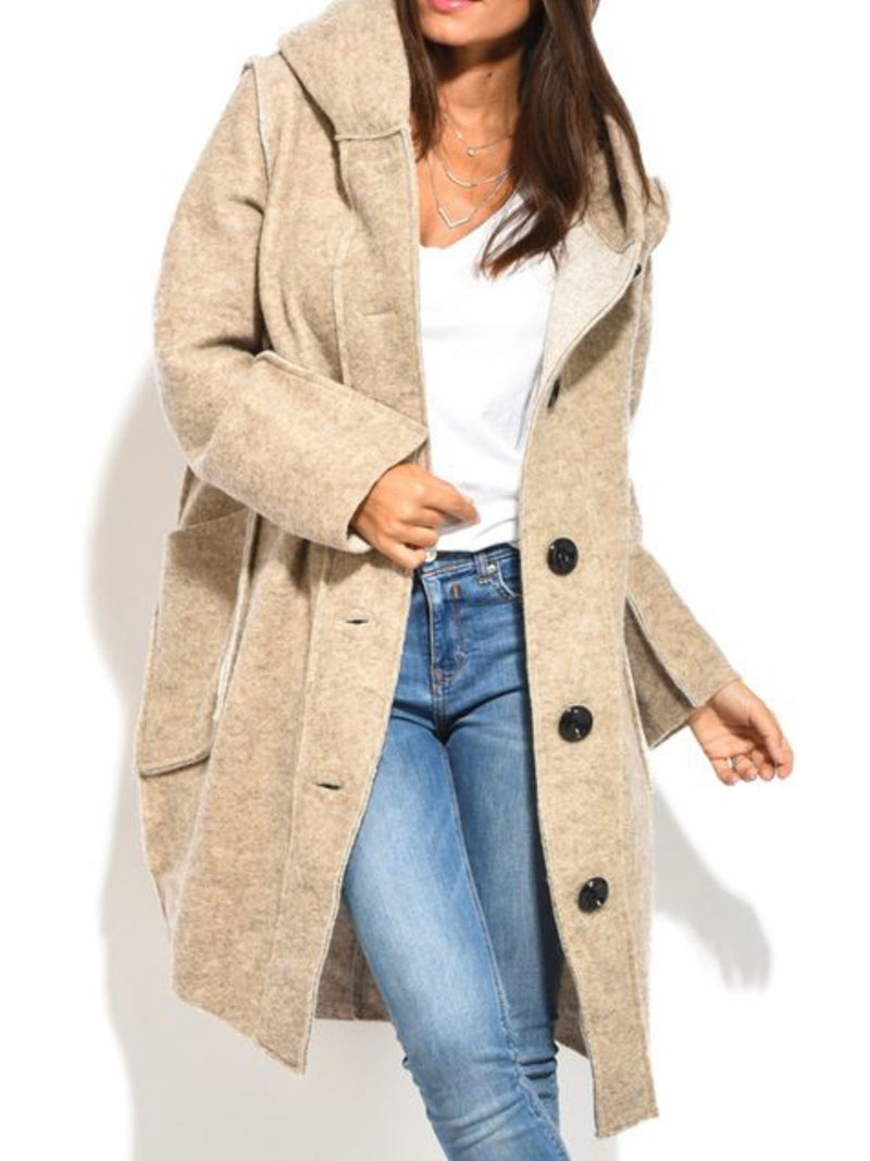 Plus Size Vintage Pockets  Long Sleeve Casual Outerwear