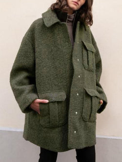 Olive Buttoned Casual plus size Outerwear