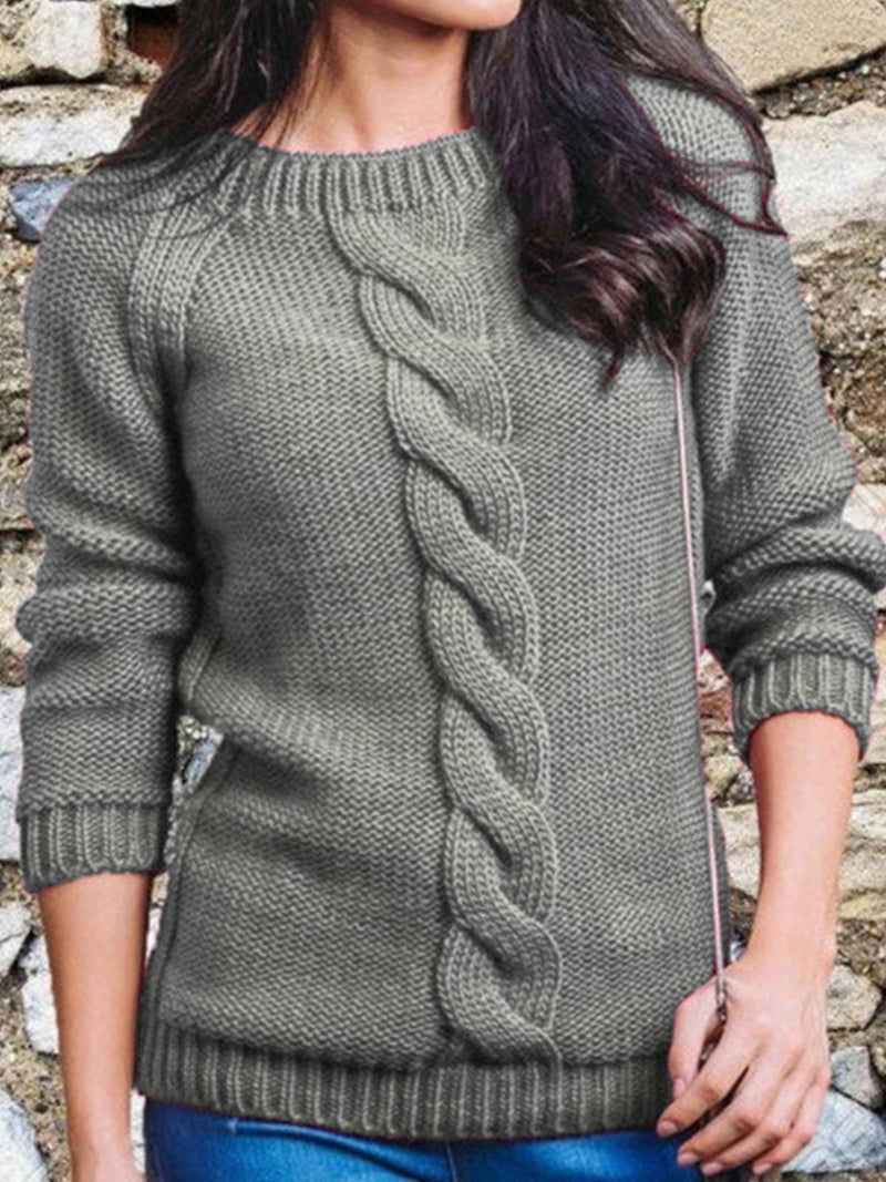 Cotton-Blend Long Sleeve Casual Sweater