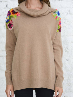 Apricot Cotton-Blend Long Sleeve Turtleneck Floral Shirts & Tops
