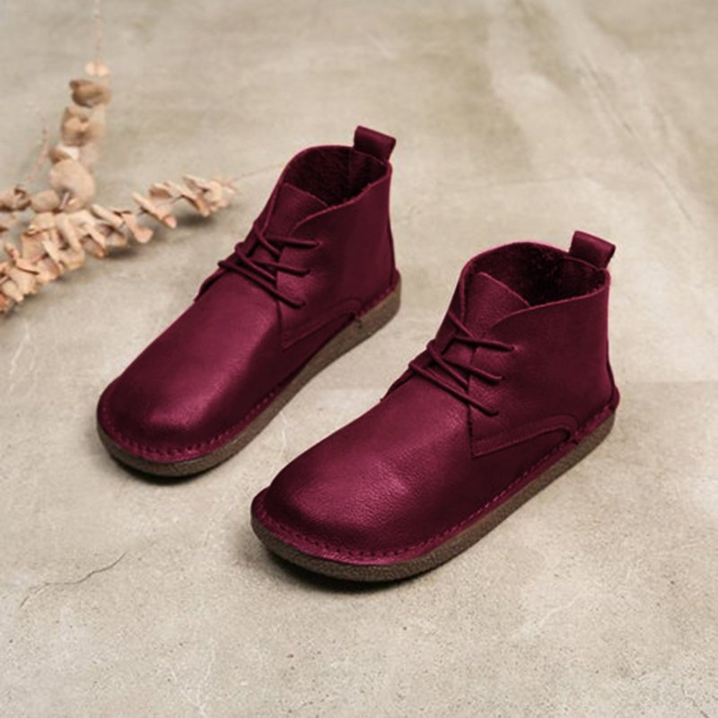 Flat Heel Lace-Up Fall Boots