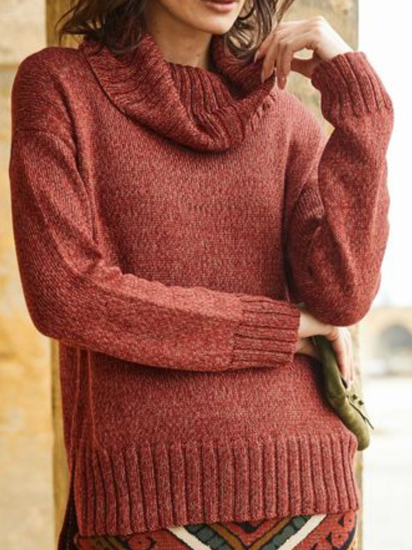 Red Brown Cowl Neck Solid Long Sleeve Sweater