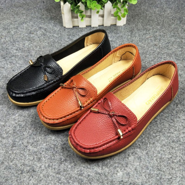 Pi Clue Fall Leather Bowknot Daily Flats