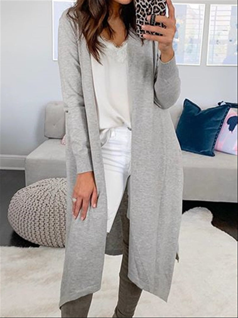 Autumn Winter Casual Basic Daily Knitted Long Coat