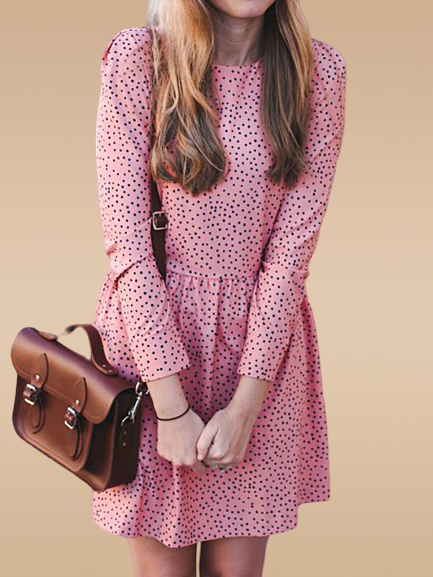 Pink Long Sleeve Polka Dots Dresses