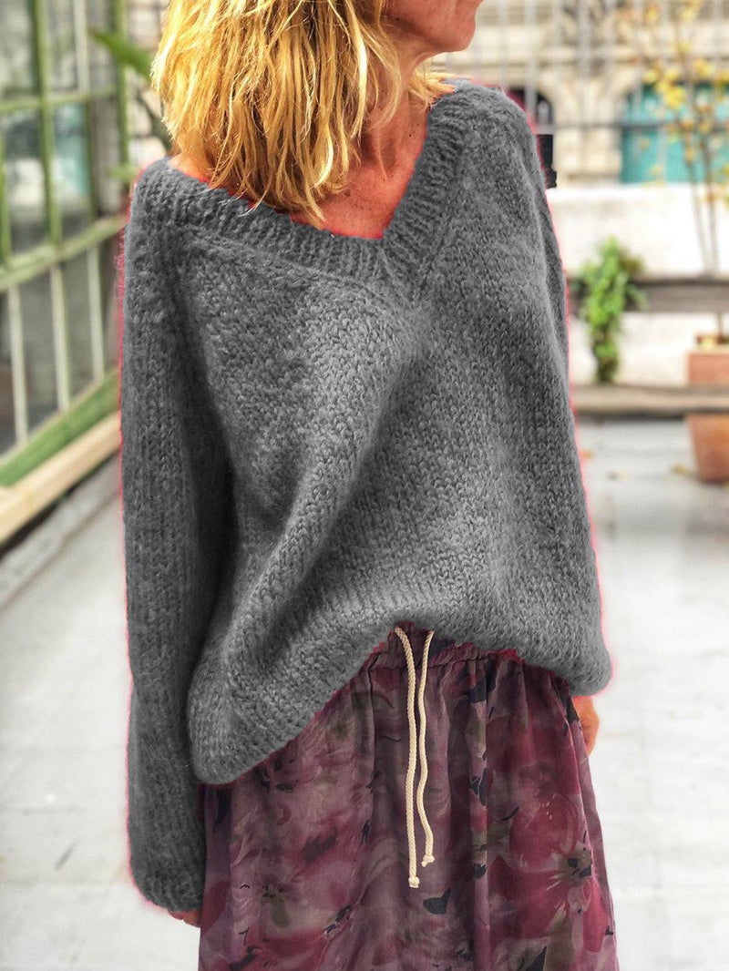 Cotton-Blend Long Sleeve V Neck Sweater