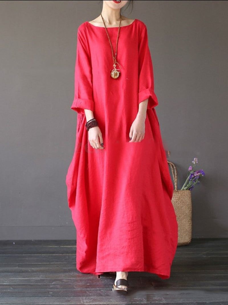 Red Swing Long Sleeve Crew Neck Cotton Dress