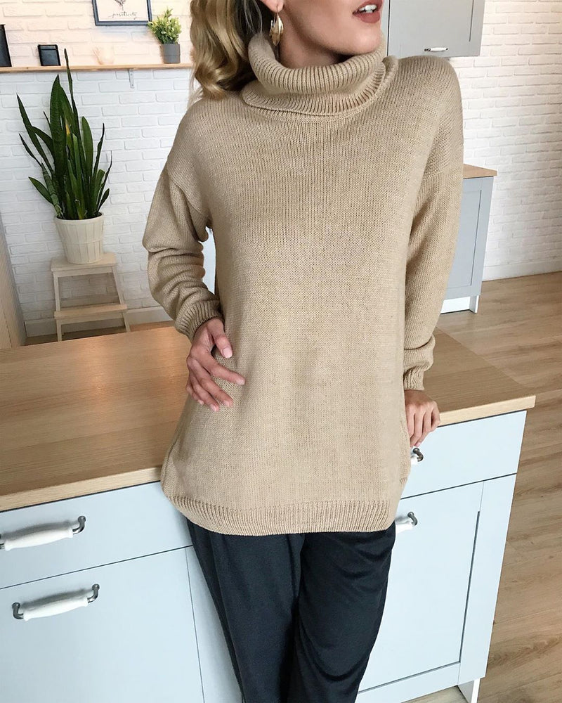 Army Green Solid Turtleneck Acrylic Long Sleeve Plus Size Soft Stretchy Sweater