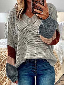 Color-Block Striped Knitted Sweater Plus Size Pullovers Jumpers