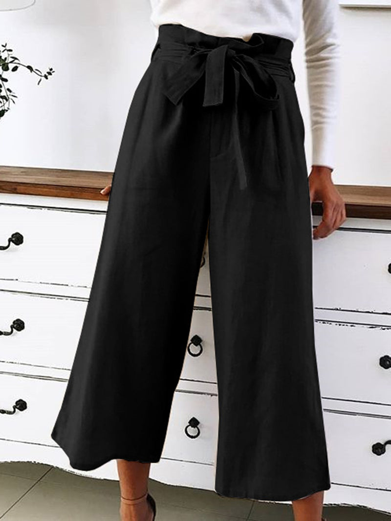 Plain Casual Bow Casual Wide leg Pants