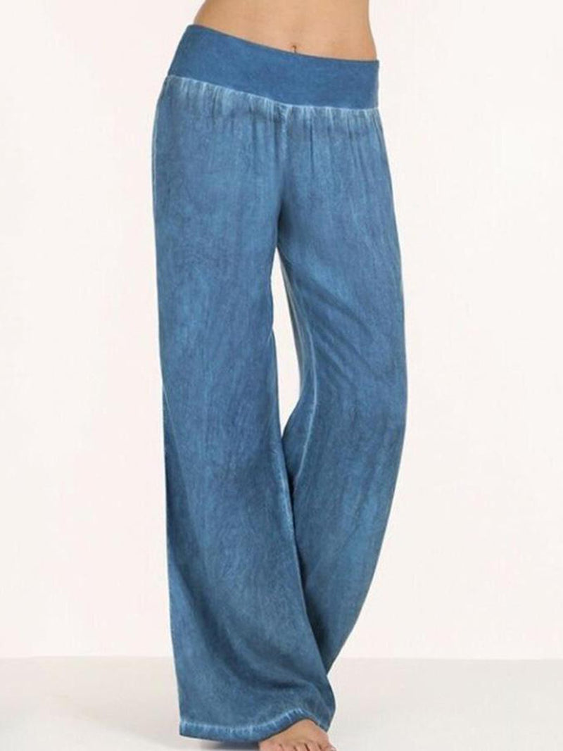 Women Plus Size Basic Solid Wide Leg Casual Pants