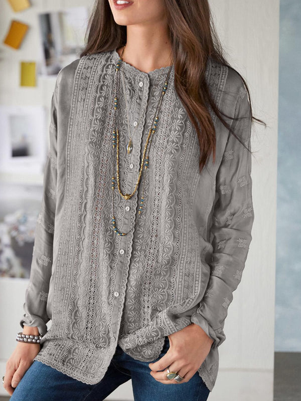 Gray Long Sleeve Cotton-Blend Plain Shirts & Tops