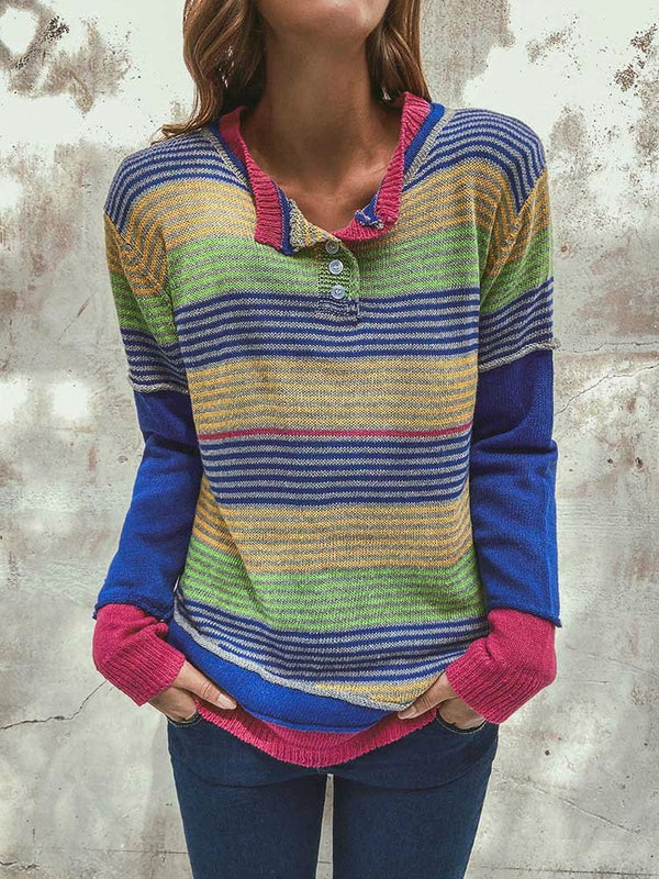 Multicolor Long Sleeve Striped Cotton Round Neck Shirts & Tops