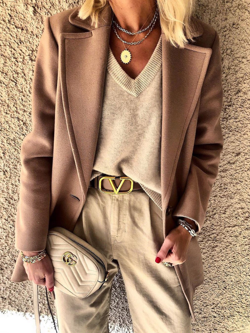 Apricot Long Sleeve Shift Vintage Outerwear