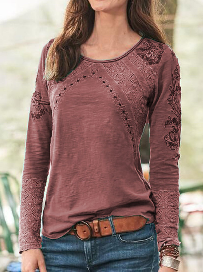 Ethnic Hollow-out  Sweet Long Sleeve Tops