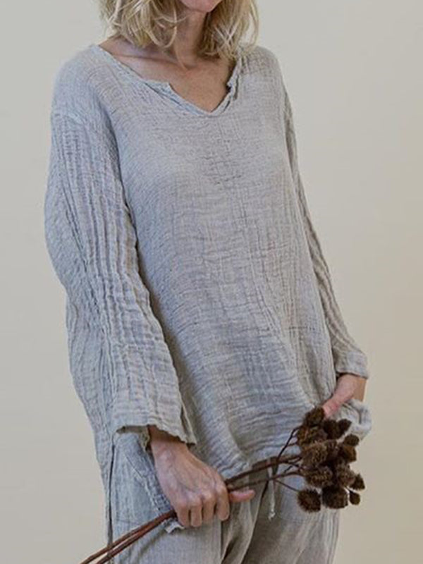 Long Sleeve Linen V Neck Tops