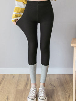 Contrast stitching threaded leggings Casual Pants
