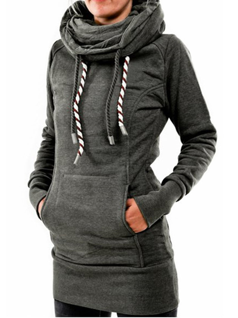 Women Cowl Neck Hoodie Cotton-blend Simple Long Sleeve sweatshirt