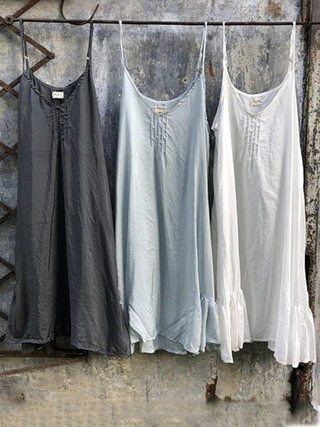 Casual Cotton Ins Plus SizeSleeveless Camisole Dress