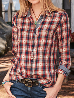 Red Long Sleeve Checkered/plaid Shirts & Tops