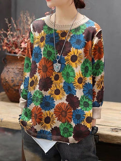 Green Long Sleeve Floral Sweater