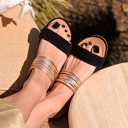 Slip-On Flat Open Toe Summer Slide Sandals Plus Sizes