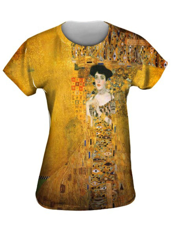 Women Yellow Round Neck Short Sleeve Shirts & Tops