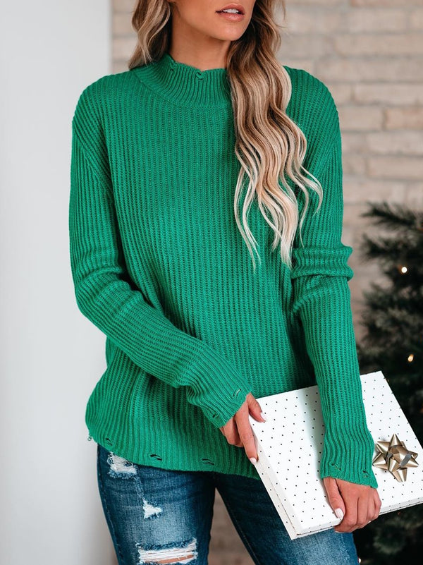 Plus Size Casual Solid Knitted Long Sleeve Sweater