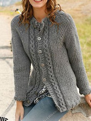 Beige Long Sleeve Sheath Knitted Floral Sweater