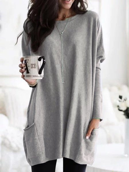 Woman Casual Plus Size Gray Long Sleeve Crew Neck Shirts & Tops