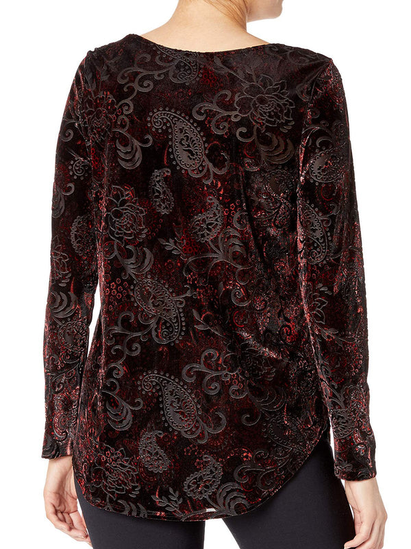 Wine Red Printed Casual Velvet Round Neck Shirts & Tops