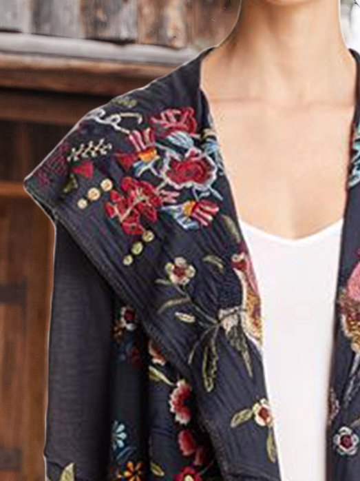Embroidered Casual Shawl Collar Outerwear