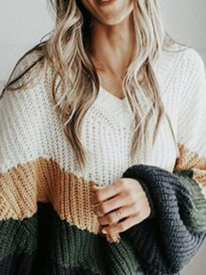 Multicolor Knitted Casual Long Sleeve Shift Sweater